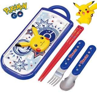日本製 Pokemon 比卡超 兒童餐具 义、匙、筷子