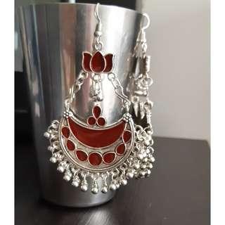 BN Red bohemian earrings