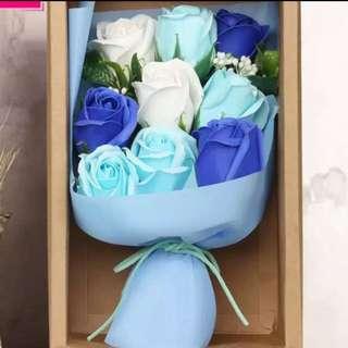Flower Bouquet blue soap roses