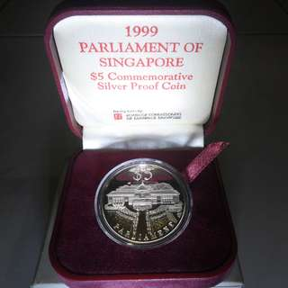 1999 Parliament of Singapore $5 Silver Proof Coin