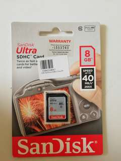 New SanDisk ultra SDhc Card 8gb class 10 #dec30