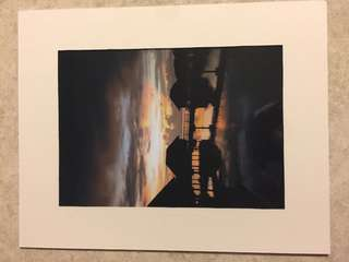 Sunset photo in frame (pic taken by owner in Maldives)- frame 11 x 14 inch