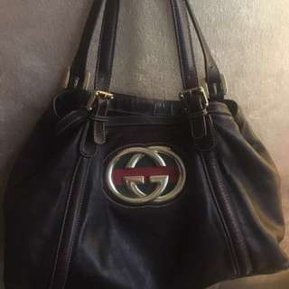 ee54823948cd Gucci Britt Medium Tote Leather Bag (Medium Brown)