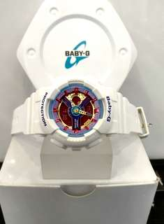 * FREE DELIVERY * Brand New 100% Authentic Casio BabyG White & Rainbow Dial Baby G Ladies Watch Baby-G BA112 7 BA112-7ADR
