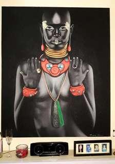 Lukisan Etnik Afrika 100x120cm