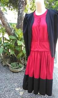 Dress red.black with blazer