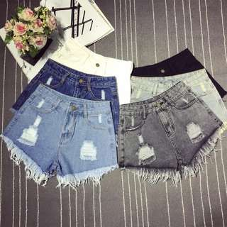 *BRAND NEW* INSTOCK Light blue washed ripped denim shorts
