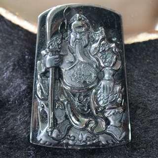 Type A Burmese Black Jade Jadeite Guan Gong - 38.10g L42.7 B61.5 H8.1mm
