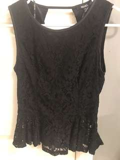 Black lace open back peplum blouse