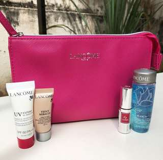 🆕 Lancôme Travel Set with Pink Zipper Pouch
