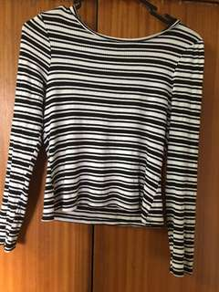 black n white striped long sleeve