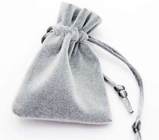 High Quality Silver Grey Soft Velvet Pouches