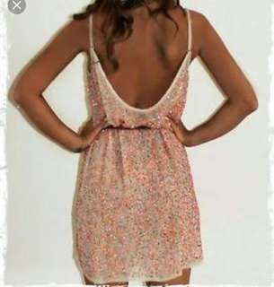 All Saints Coral Nude Sequin dress