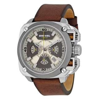 BAMF BEIGE AND GREY DIAL BROWN LEATHER MEN'S WATCH DZ7343