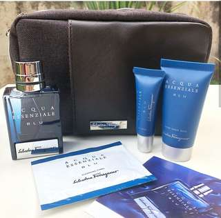 🆕 Salvatore Ferragamo Acqua Essenziale Blu Travel Set with Toiletry Bag