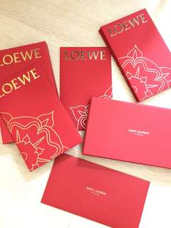 Luxury brand red Packets Saint Laurent and Loewe