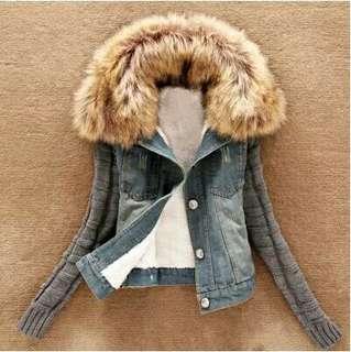歐美時尚休閒渡假日韓系毛領個性簡約拼接造型活動式百搭多變牛仔外套