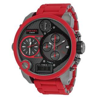 DADDIES SERIES CHRONOGRAPH GREY FOUR TIME ZONE DIAL RED SILICONE MEN'S WATCH DZ7279