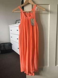 Salmon/orange silk dress