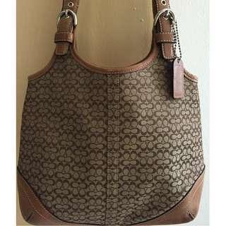 Coach Shoulder Tote Signature Canvas Leather Purse Handbag M3K-7025