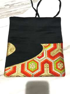 Handmade Japanese Kimono Obi pouch bag
