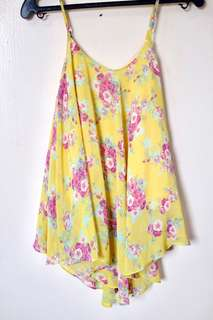 Yellow Floral Chifon Top