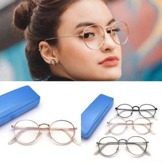 Kacamata besi bulat vintage retro