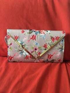 Aldo campagnano pink floral clutch bone / sling / sidecarry purse/ bag