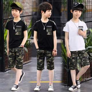 Little Kid 2 Pcs Set - HGR762  Size: 110cm, 120cm, 130cm, 140cm, 150cm, 160cm, 170cm  Color: black, white