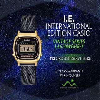 CASIO INTERNATIONAL EDITION VINTAGE SERIES BLACK MESH LA670WEMB-1