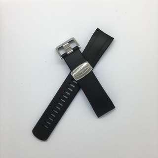 "Curved End Rubber Strap for Seiko ""New"" Samurai Series (CB09) Black/Royal Blue"