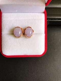 粉紫翡翠耳釘,玫瑰金鑲鑽