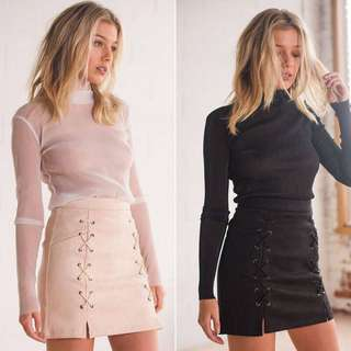Lace-up Suede Skirt