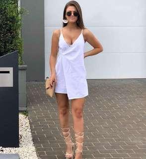 White wrap linen dress