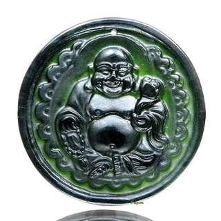 🚚 珍珠林~僅此一件~天然墨玉歡喜彌勒佛玉珮.直徑46MM#376