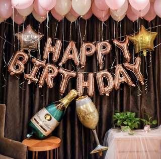 INSTOCKS Champagne Happy Birthday Balloon Set