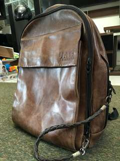 Laptop bagpack leather