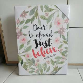 Don't be afraid. Just believe. Floral leaves border wallpaper canvas artwork (Bible verse motivational)