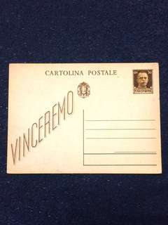 Italy 1942 WW2 30c Vinceremo Slogan Postal Card Unused