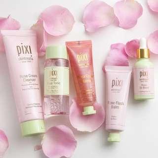 Pixi Rose Cleanser / Tonic / Essence / Oil / Setting Spray / Jasmine Oil / 24k Eye Elixir Serum / T-zone Peel Off Mask