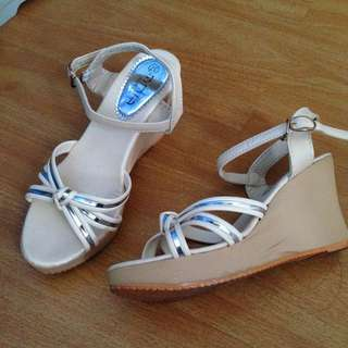 Silver and White Strappy Wedges