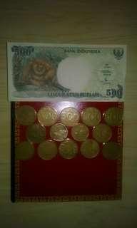 Dijual Uang lama 500 lembaran dan koin tahun 92'an