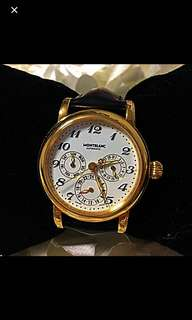 Montblanc dual time gold plated automatic watch