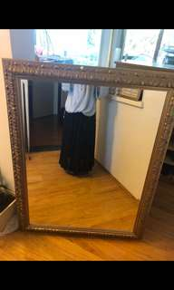 Large Gold Brimmed Mirror