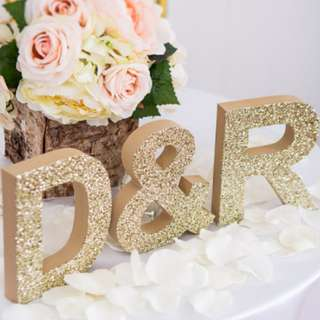 {PO} Golden Glitter Alphabets / Wedding Props