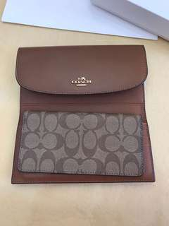 Original coach women triple fold wallet purse pouch