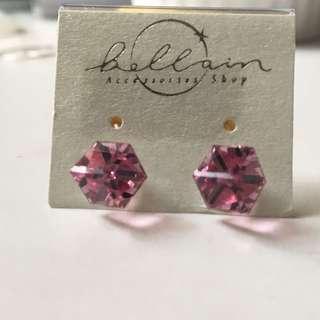韓國水晶粉紅色正方形耳環