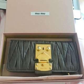 Auth Miu Miu Wallet with Lock