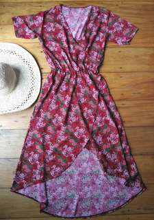 Andrea Floral Overlap Swan Dress brand new