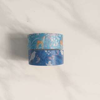 Blue Deer And Bird Series Washi Tapes